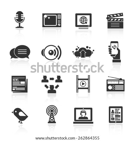 Media icons black set with microphone tv computer film isolated vector illustration - stock vector