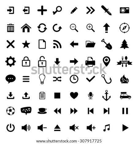 Media icons for advertising or web design.