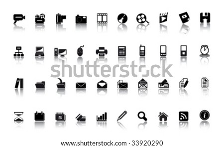 media icons - large vector set - stock vector