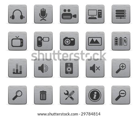 Media icons, metal series - stock vector