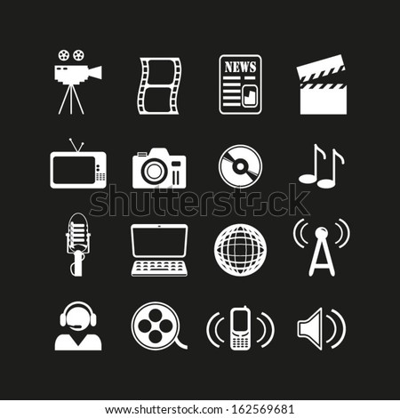 Media icons set - stock vector