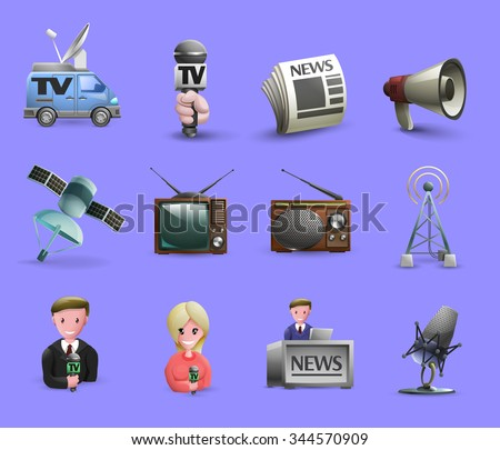 Media icons set of news presenters news maker tools tv and radio devices cartoon isolated vector illustration - stock vector