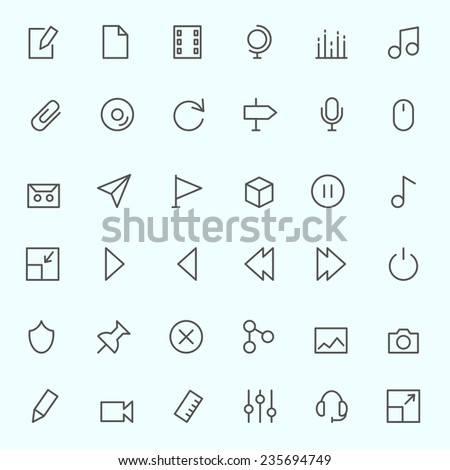 Media icons, simple and thin line design - stock vector