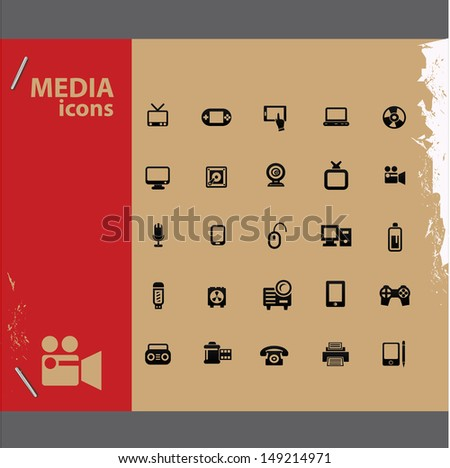 Media icons,vector - stock vector