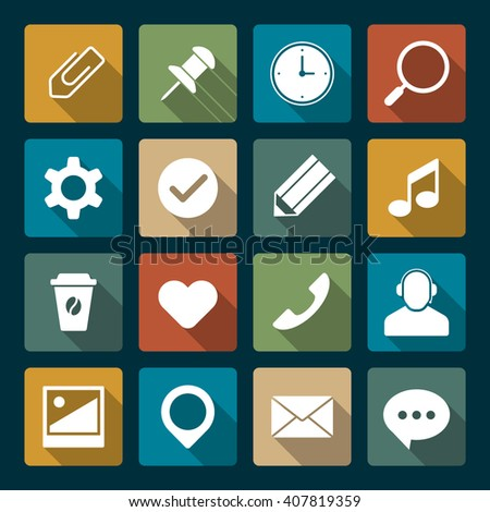 Media icons. Vector set. Flat web icons