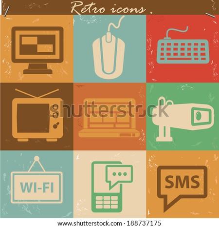 Media icons,Vintage version,vector - stock vector