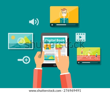 media in digital book and e-book technology on mobile device concept - stock vector