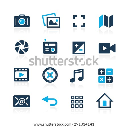 Media Interface Icons // Azure Series - stock vector