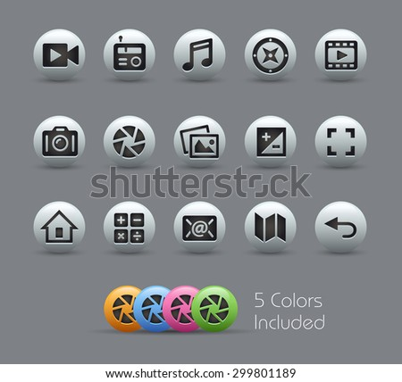 Media Interface Icons // Pearly Series ----- The Vector file includes 5 color versions for each icon in different layers ----- - stock vector