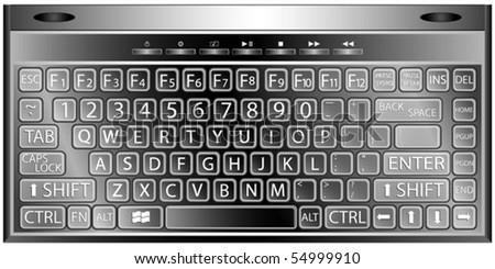 media keyboard vector against white background, abstract art illustration - stock vector