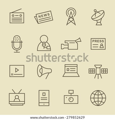 Media line icon set - stock vector