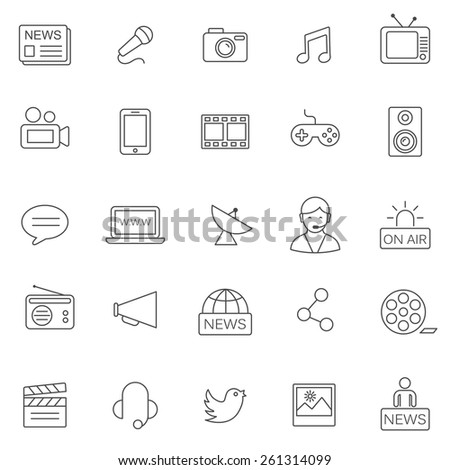 Media line icons set.Vector - stock vector