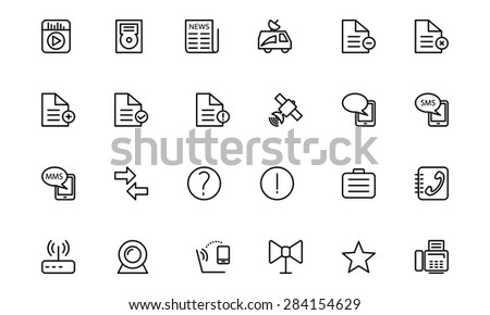 Media Line Vector Icons 5 - stock vector