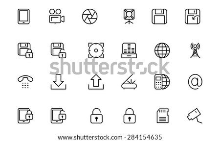 Media Line Vector Icons 4 - stock vector