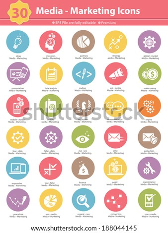 Media & Marketing icons,colorful version on white background,vector - stock vector