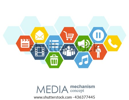Media mechanism concept. Growth abstract background with integrated meta balls, integrated icon for digital, strategy, internet, network, connect, communicate, technology, global concepts.