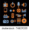 media & music icons, signs, vector - stock vector