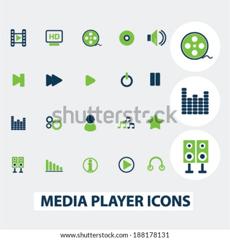 media, music player icons, set - stock vector