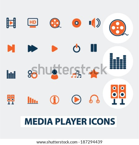 media, music player icons, signs, elements set, vector  - stock vector