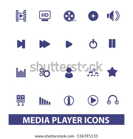 media & music & website player icons, signs set, vector - stock vector