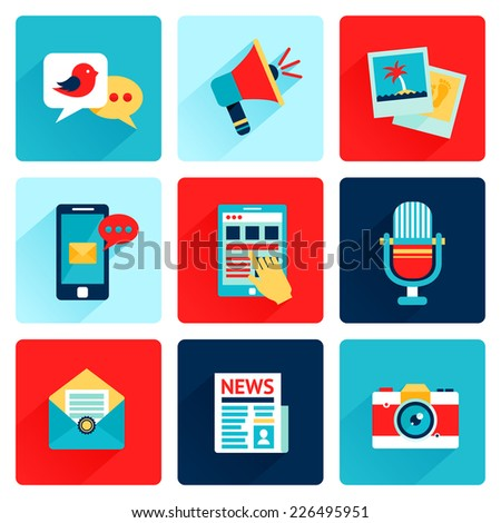 Media news social communication flat icons set with speech bubble megahone photo isolated vector illustration - stock vector