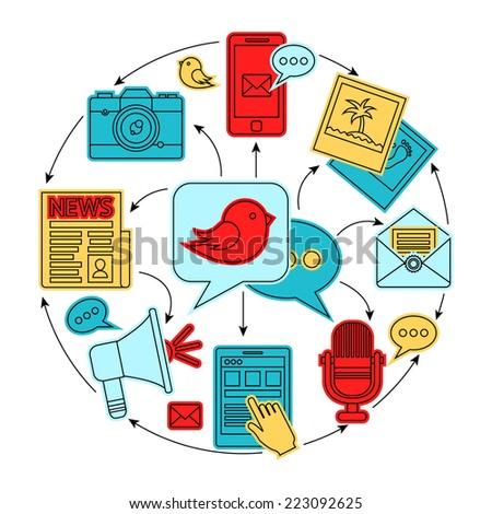 Media news social communication flat line icons set composition concept vector illustration - stock vector