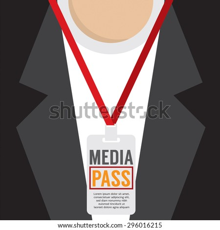 Media Pass Lanyard Vector Illustration - stock vector