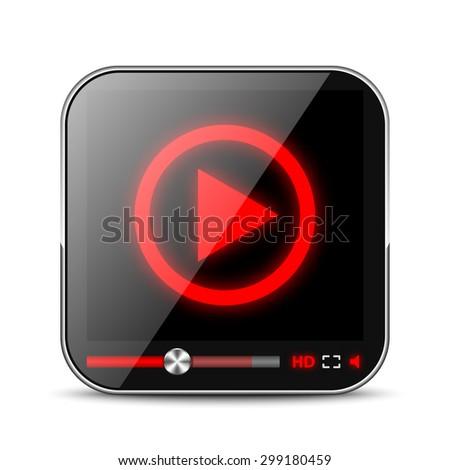 Media Player App Icon - stock vector