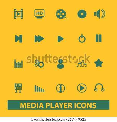 media player, audio isolated web icons, signs, illustrations concept design set, vector - stock vector