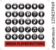 media player black glossy buttons set, vector - stock vector