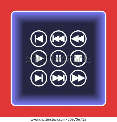 Media player buttons sign icons, vector illustration. Flat design style