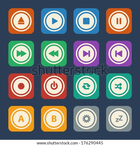 Media player buttons. Vector flat design.