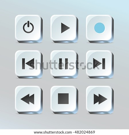 Media player control app buttons