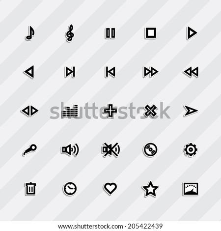 media player control button sign set.  - stock vector
