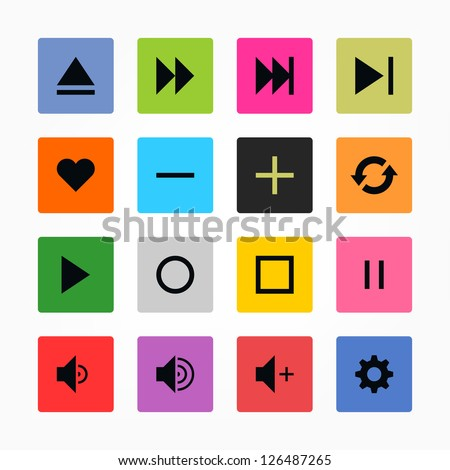 Media player control button ui icon set. Black on color. Simple rounded square sticker internet sign. Solid plain monochrome color flat tile style. Vector illustration web design elements 8 eps - stock vector