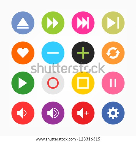 Media player control button ui icon set. Mono one-color solid plain flat tile. Simple circle sticker internet sign gray background. Vector illustration web design elements save in 8 eps. Newest style. - stock vector