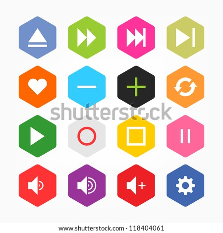 Media player control button ui icon set. Simple rounded hexagon internet sign on gray background. Solid plain monochrome color flat tile. New minimal elegant metro style. Web design elements 8 eps - stock vector