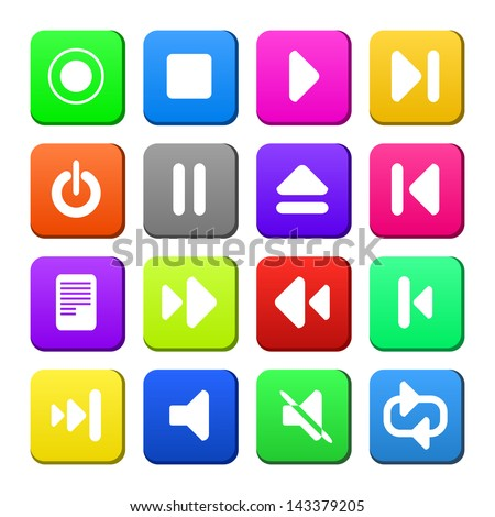 Media player control button ui icon set. Vector illustration web design elements saved in 8 eps. Newest style.