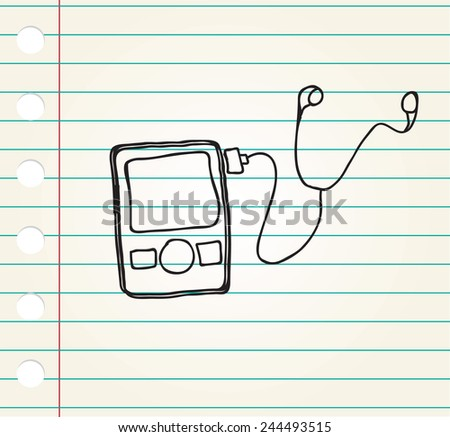 Media player Doodle style on paper - stock vector
