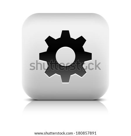 Media player icon with cog settings sign. Rounded square web button with black shadow gray reflection on white background. Series in a stone style. Vector illustration internet design element 8 eps - stock vector
