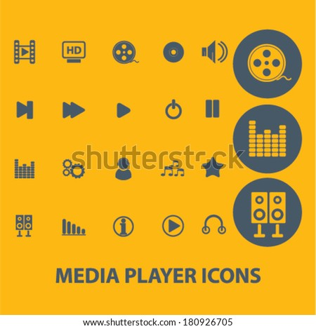 media player icons, buttons, symbols, buttons isolated set, vector on background - stock vector
