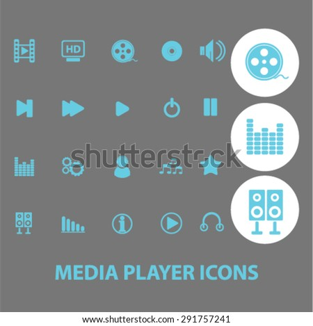 media player icons, illustrations - stock vector
