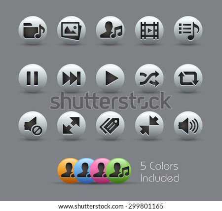 Media Player Icons // Pearly Series ----- The Vector file includes 5 color versions for each icon in different layers ----- - stock vector