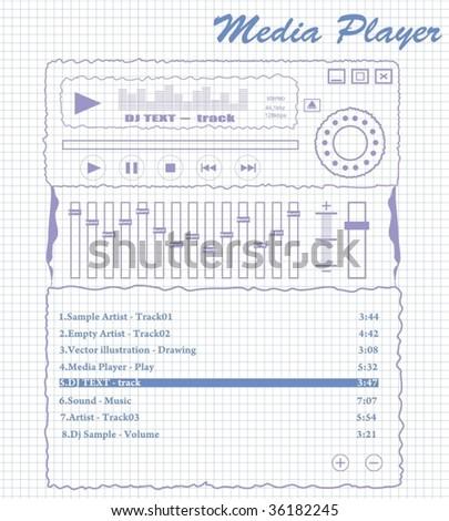 media player on vector - stock vector