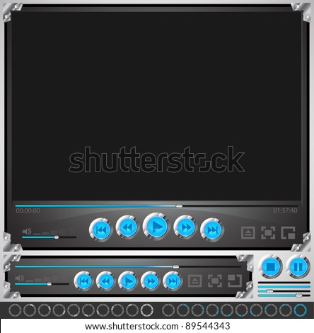 media player template - stock vector