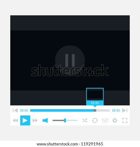 Media player ui interface with video loading bar and additional buttons. New modern minimal metro cute style. Simple solid plain blue color flat tile. Vector illustration web design element in 8 eps - stock vector