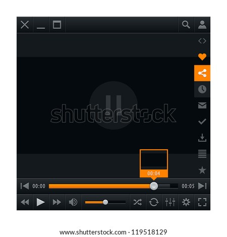 Media player ui interface with video loading bar and additional movie buttons. Modern classic dark style. Vector illustration web design element in 10 eps - stock vector