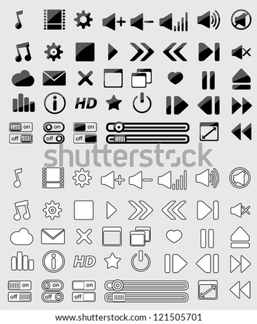 Media Player Vector Icons Set with shadow and blank