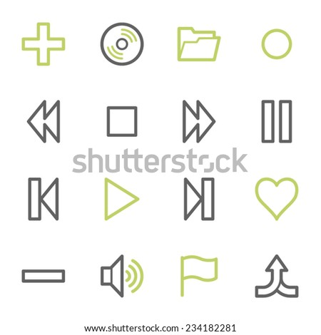 Media player web icons set - stock vector