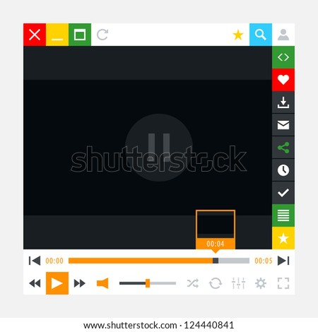 Media player with video loading bar and additional movie buttons. Variation 02 - Orange color. New minimal metro cute style. Simple solid plain flat tile. Vector illustration web design element 8 eps - stock vector